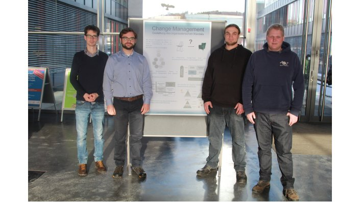 "Team ""Change Management"": v. l. Janik Schneider, Thomas Radonski, Manuel Menges, Michael Buchalle"