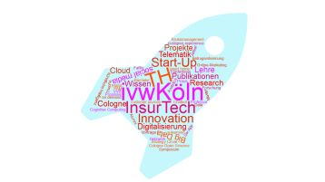 Wordcloud Rakete InsurTech (Bild: ivwKöln / TH Köln)