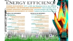 Program of the Energy Efficieny Workshop 2009 (Bild: W. Schellong, TH Köln)