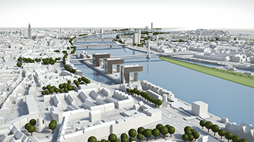 "VIS: Das ""Virtuell immersive Stadtplanungsmodell""  (Bild: CAD CAM Center Cologne)"