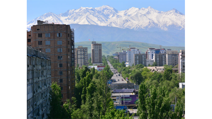 Bishkek with the mountains in the background